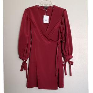 Topshop NWT Balloon Sleeve Mini Wrap Dress